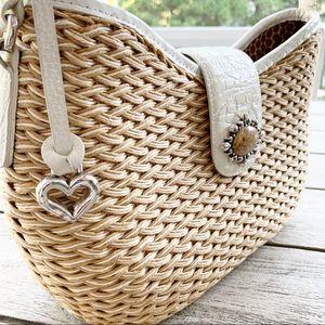 BRIGHTON Woven & Leather Stone Accent Bag
